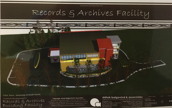Illustration of the new Archives Building, University of South Pacific, Fiji