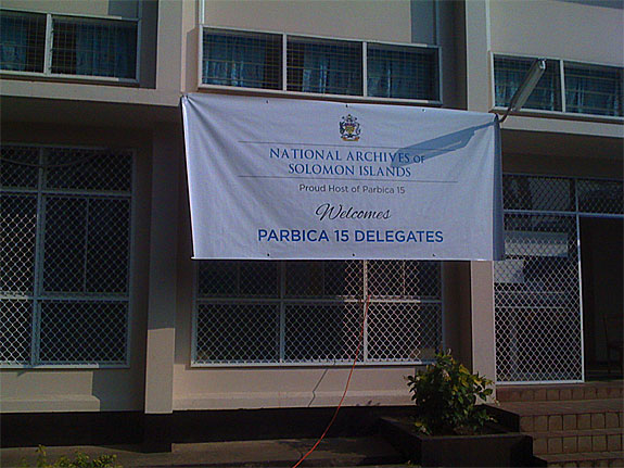 A banner hangs in front of the National Archives Solomon islands